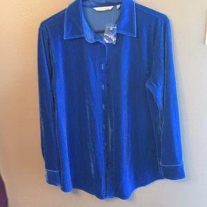 Soft Surroundings blue button down blouse PS loose